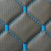 Экокожа стеганая черная Ромб с синей строчкой