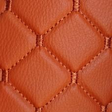 Экокожа стеганая оранжевая Ромб с оранжевой строчкой