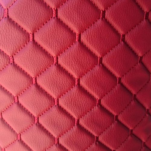 Экокожа стеганая красный Ромб с красной строчкой