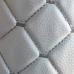 Экокожа стеганая белый Ромб с белой строчкой