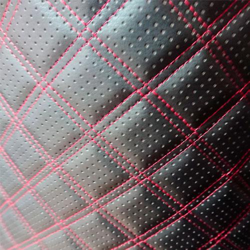 Перфорированная кожа Черная (Красная стежка в 2 ряда)
