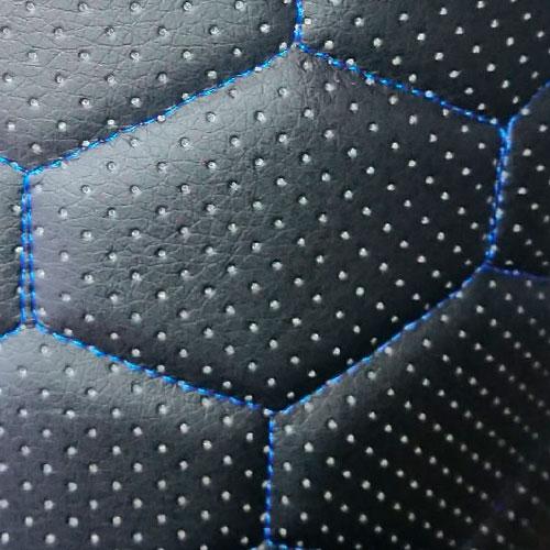 Экокожа стеганая Черная сота (Синяя строчка)