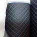 Перфорированная кожа черная (Тройная строчка Оранжевые нитки)