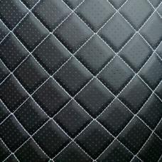 Перфорированная кожа черная (белые нитки)
