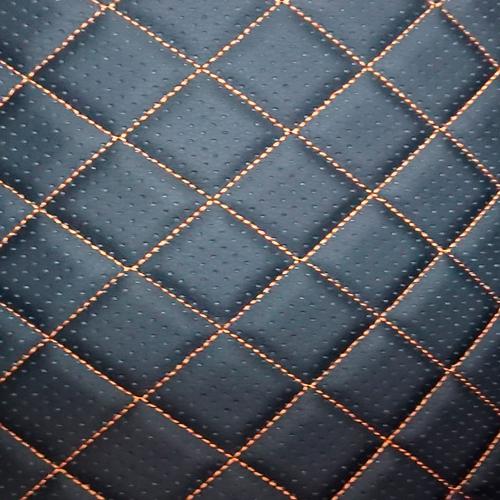 Перфорированная кожа Черная (Оранжевые нитки)