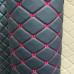 Экокожа ПВХ ромб черная (красные нитки)